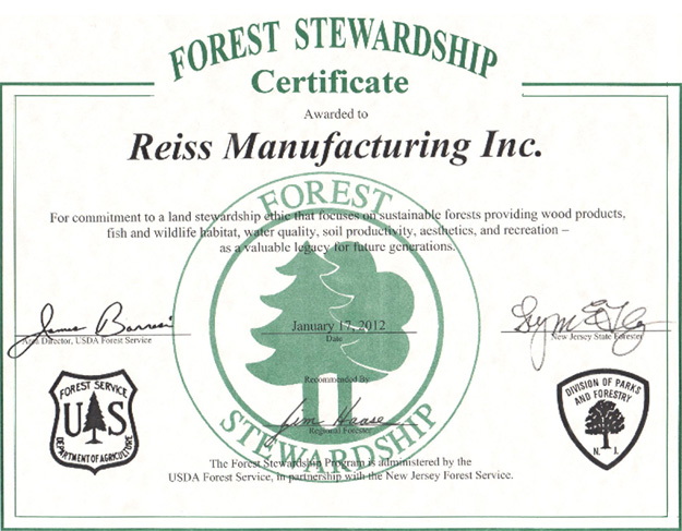 Reiss Manufacturing Awarded Forest Stewardship Certificate
